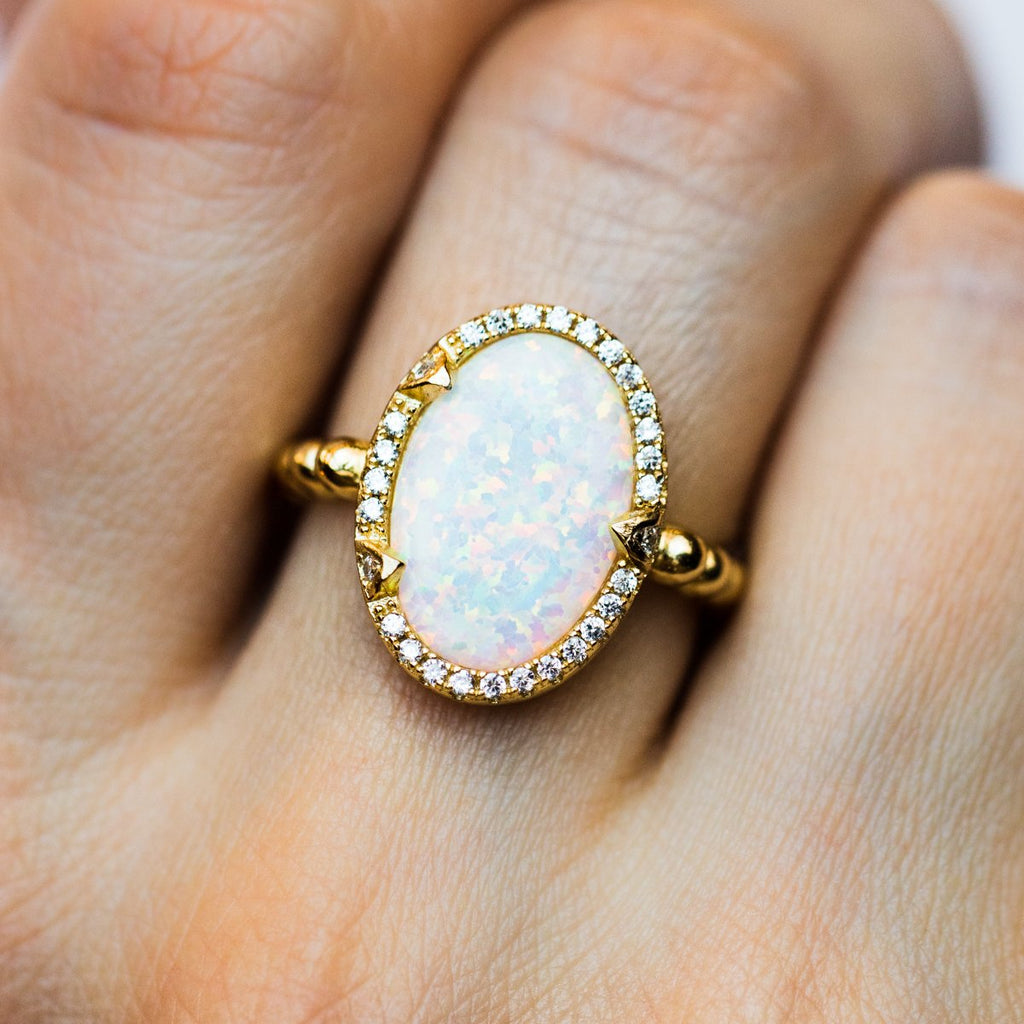 Maya Ring in Gold with White Opal White CZ - rings - Melinda Maria local eclectic