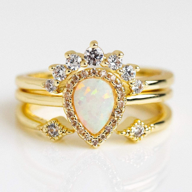 Pear Stacking Ring Set in Gold with White Opal rings Melinda Maria
