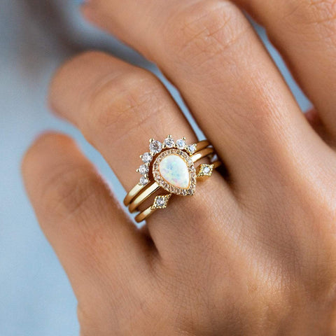 Pear Stacking Ring Set in Gold with White Opal