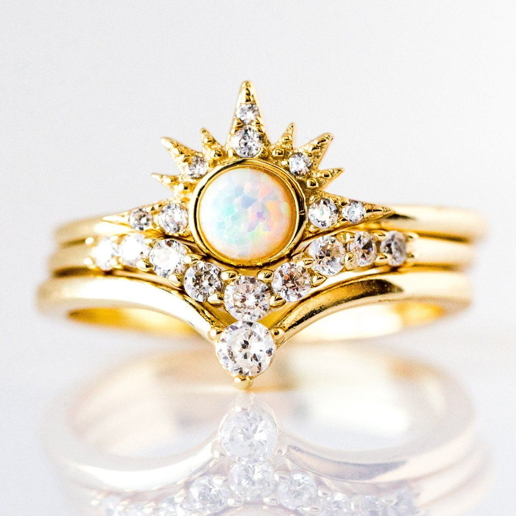 Starburst Stacking Ring Set in Gold with White Opal - rings - Melinda Maria local eclectic