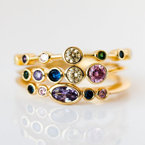 Monet Stacking Ring Gold Rainbow CZ