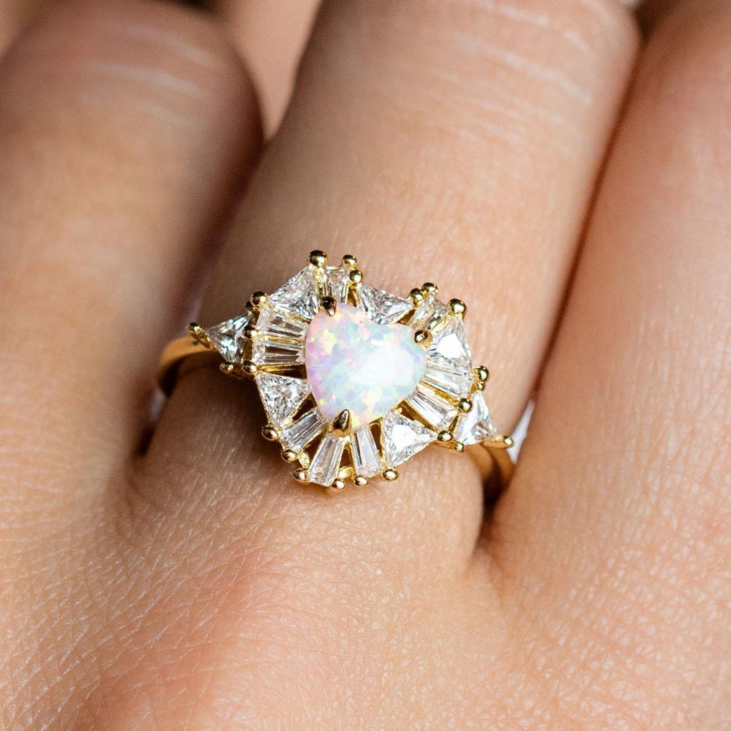 Statement White Opal Heart CZ Yellow Gold Ring Melinda Maria