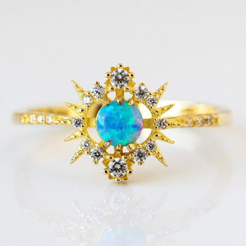 Blue Opal Celestial Inspired Ring CZ Yellow Gold Melinda Maria