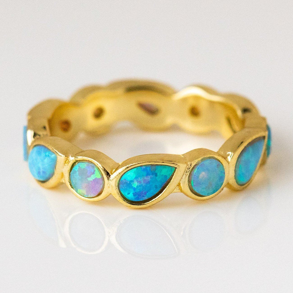 blue opal isla ring yellow gold statement jewelry opal jewelry