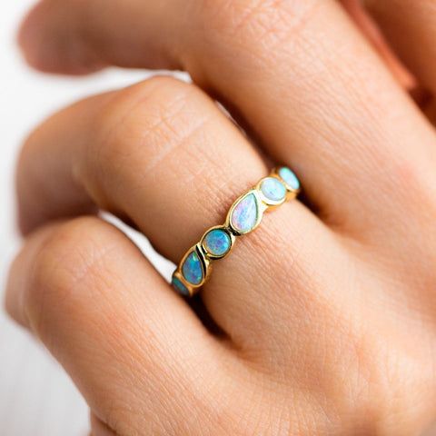 blue opal isla ring yellow gold statement jewelry