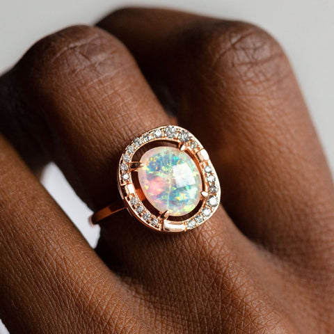 Elizabeth Ring with Opal in Rose Gold