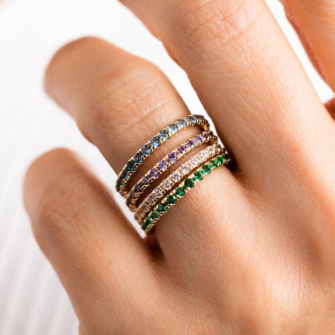infinity band ring set multicolored cz colorful statement ring stack