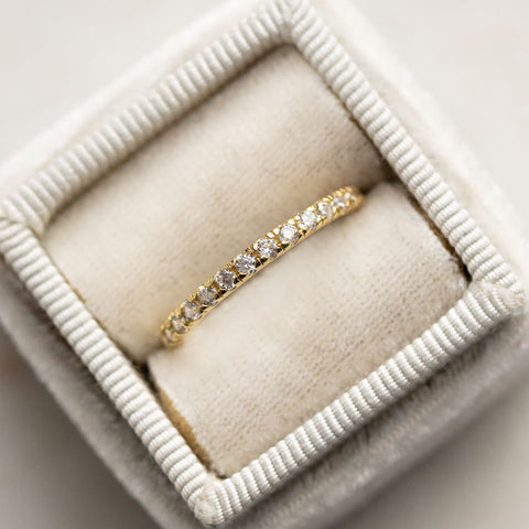 infinity band ring stackable dainty yellow gold jewelry