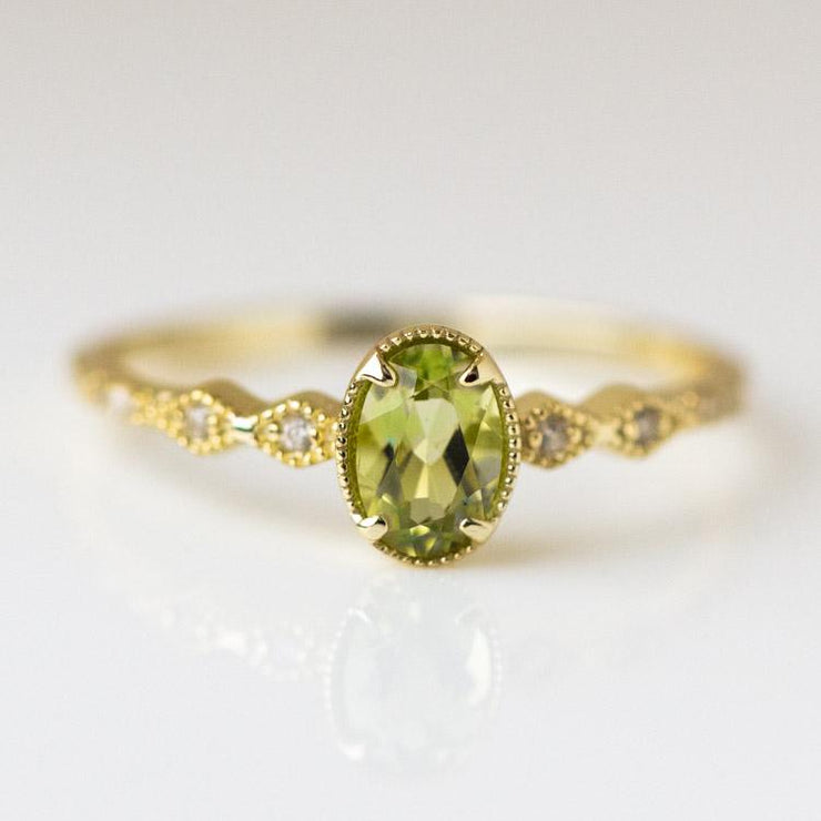 Luxe Ring in Peridot yellow gold dainty vintage inspired jewelry