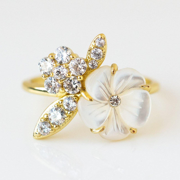 Camellia Flower Ring floral inspired yellow gold jewelry
