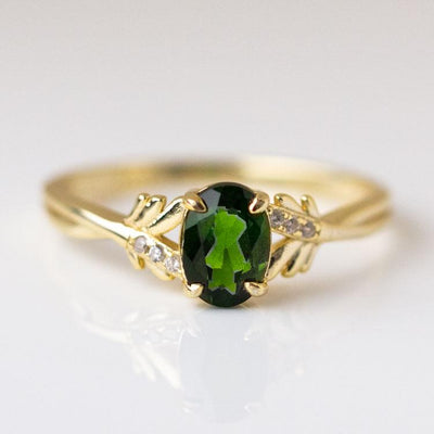 Grand Ring in Emerald vintage inspired dainty yellow gold jewelry