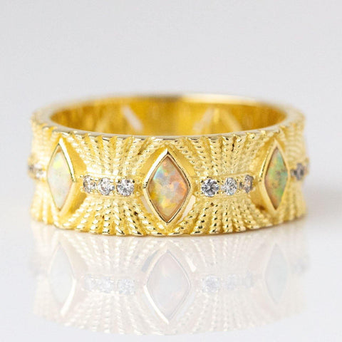 Genevieve Ring in Gold with White Opal & CZ