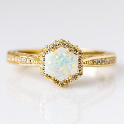 Fiona Ring in Gold with White Opal & CZ rings Melinda Maria