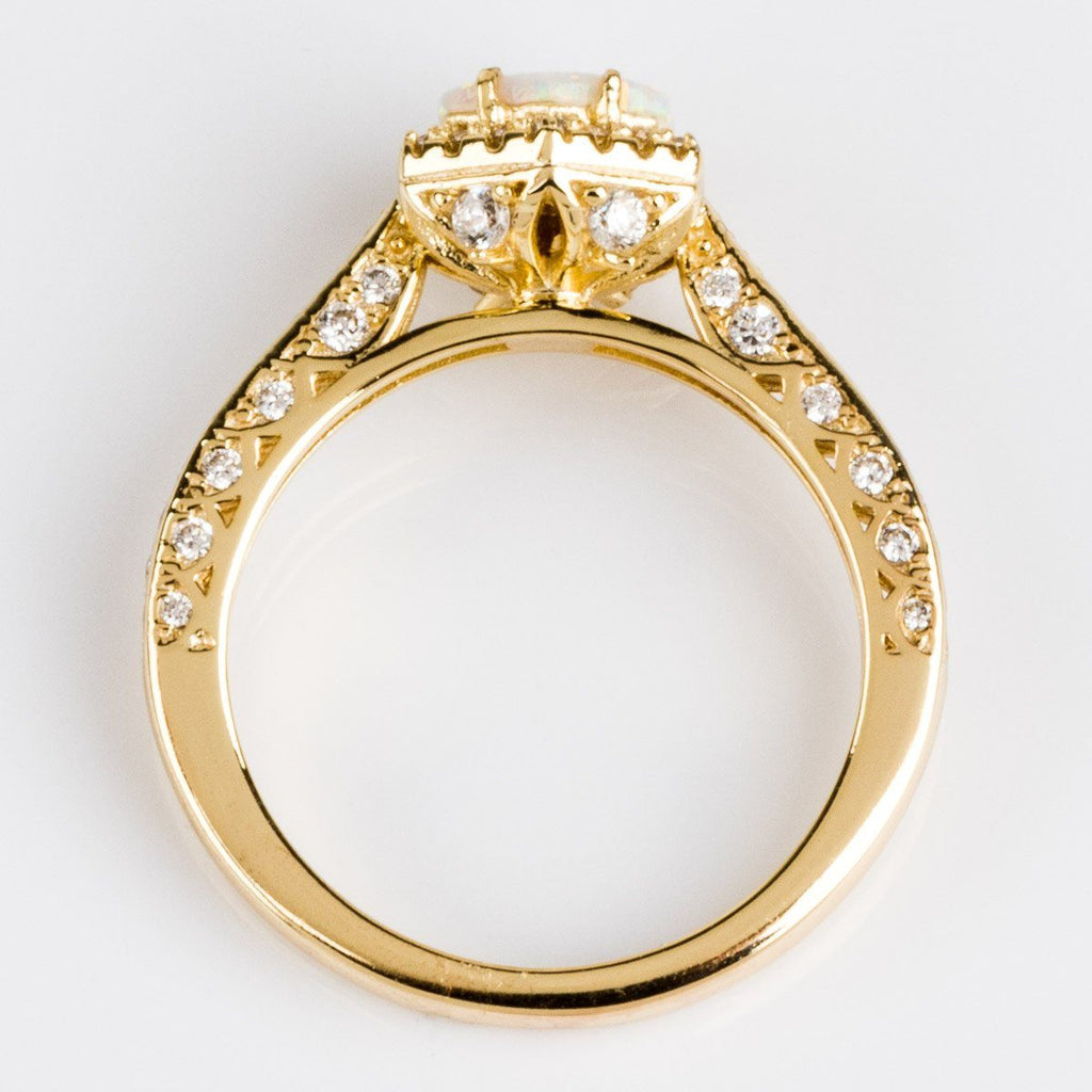 Fiona Ring in Gold with White Opal & CZ