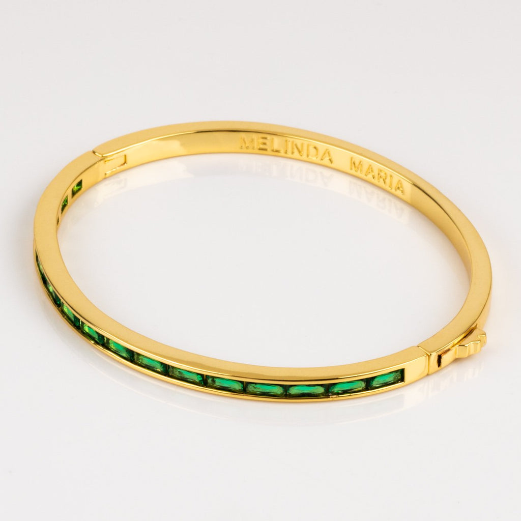 Local Eclectic - 18K Yellow Gold Plated Claire Emerald Bangle - Melinda Maria