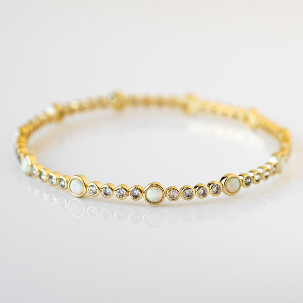 Statement Bangle Bracelet White Opal Yellow Gold CZ Melinda Maria