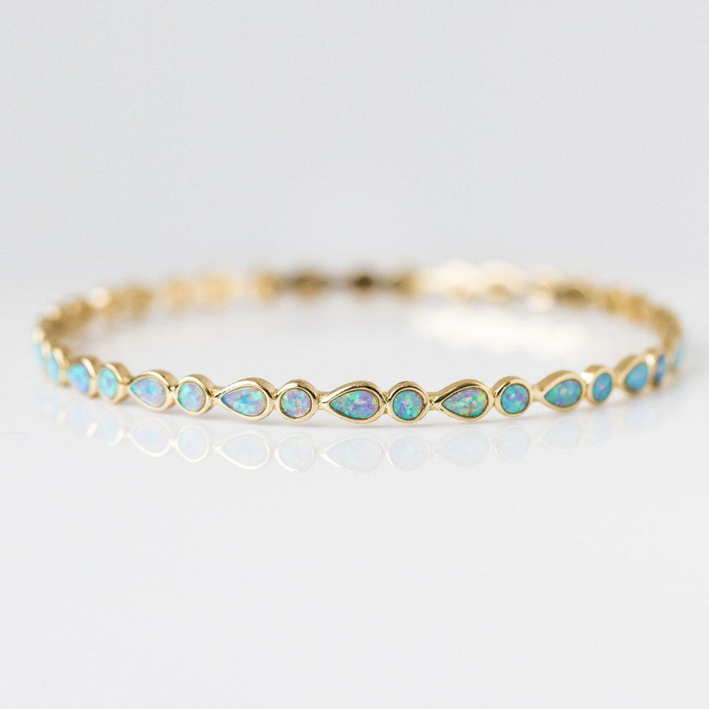 Isla Bangle Bracelet with Blue Opal - bracelets - Melinda Maria local eclectic