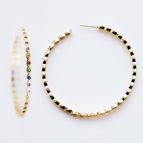 Teeny Pod Hoops in Gold with Rainbow CZ - earrings - Melinda Maria local eclectic