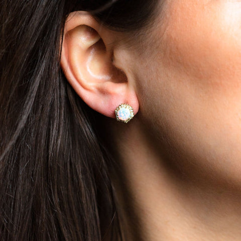Fiona Studs in Gold with White Opal & CZ