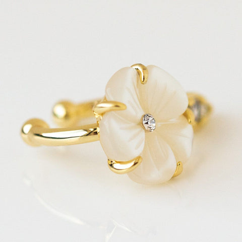 Camilla Ear Cuff statement yellow gold floral inspired jewelry