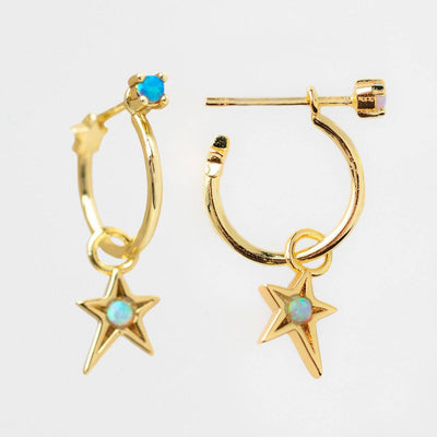 Star Charm Huggie Earrings unique yellow gold celestial inspired jewelry