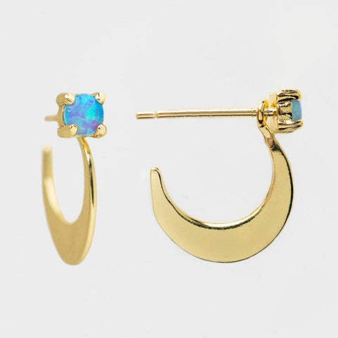 Halfmoon Earrings celestial inspired yellow gold opal dainty earrings