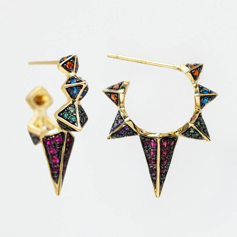 Gabriella Spiked Hoop Earrings unique statement colorful earrings yellow gold jewelry