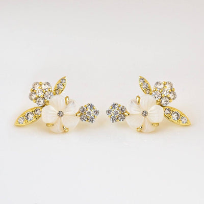 Camilla Ear Stud Earrings unique statement yellow gold earrings floral inspired jewelry