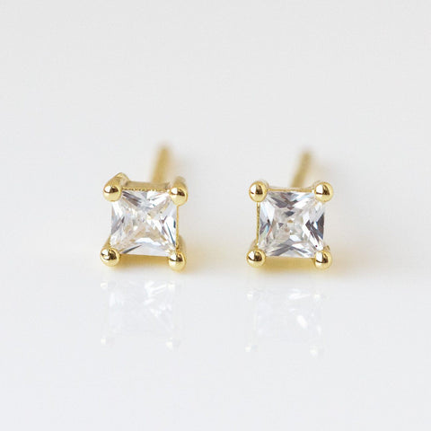 Square CZ Stud Earrings dainty modern minimal yellow gold jewelry white stones