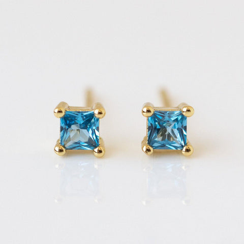 Square CZ Stud Earrings dainty modern minimal yellow gold jewelry blue stones