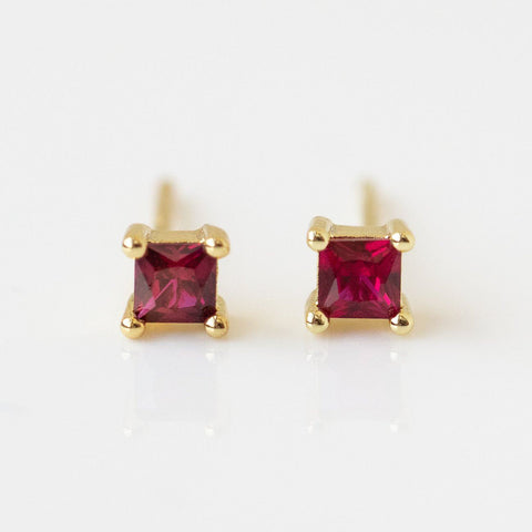 Square CZ Stud Earrings dainty modern minimal yellow gold jewelry red stones
