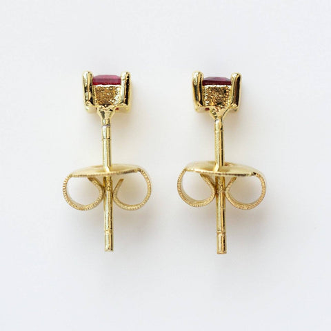 Square CZ Stud Earrings dainty modern minimal yellow gold jewelry