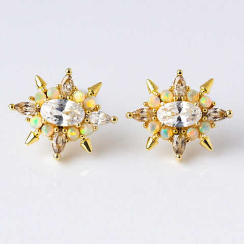 Jackie Studs in Gold with White Opal & CZ