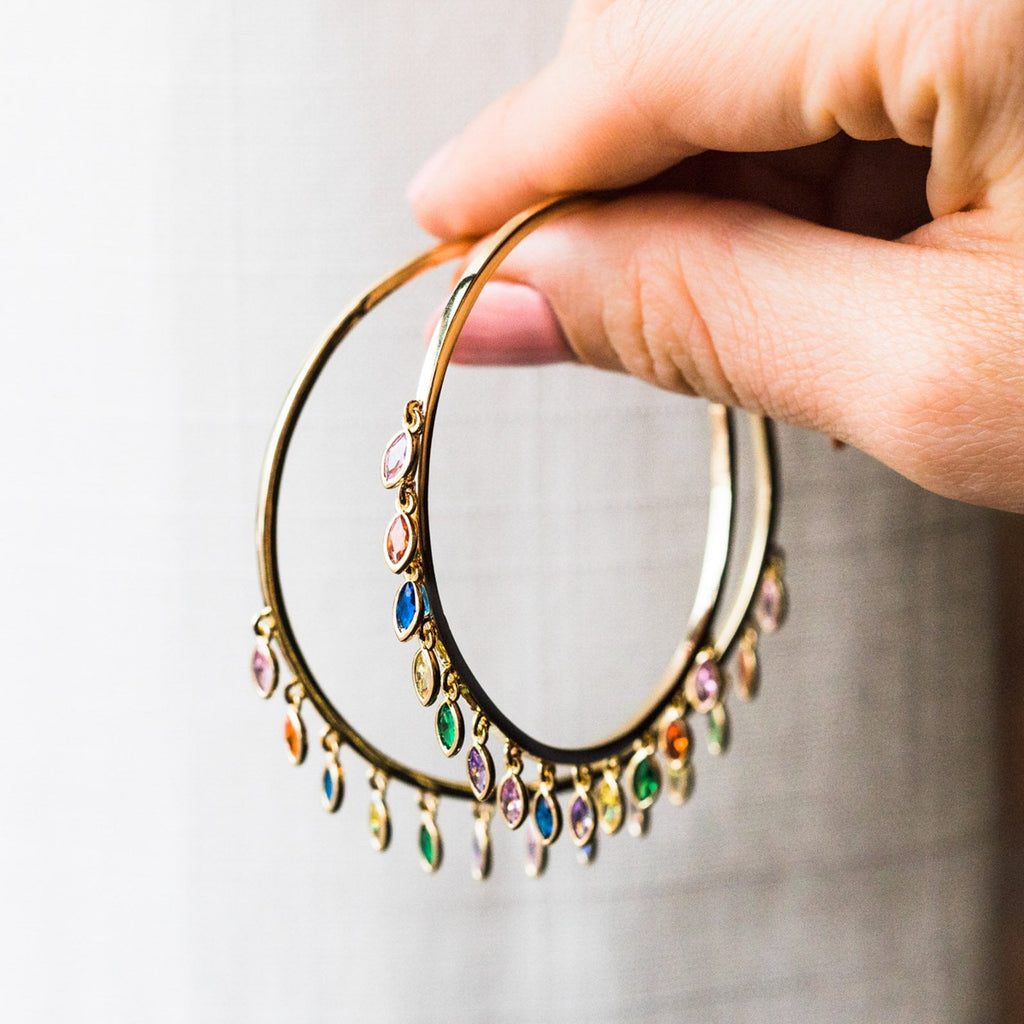 Large Marquise Gold & Rainbow CZ Shaker Hoops