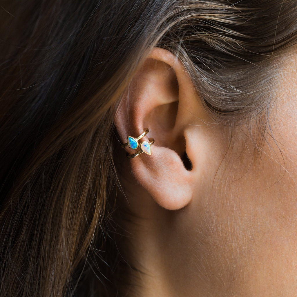 Nolan Ear Cuff in Gold with Blue Opal - earrings - Melinda Maria local eclectic