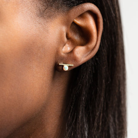 Statter Studs in Gold with White Opal