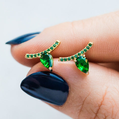 Jocelyn Studs in Gold and Emerald