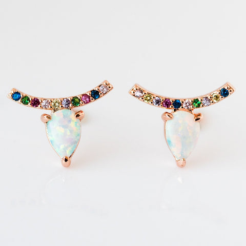 Jocelyn Studs in Rose Gold and White Opal Rainbow CZ - earrings - Melinda Maria local eclectic