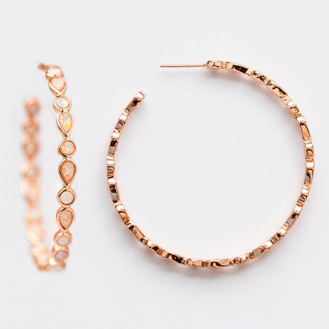 Isla Opal Hoop Earrings in Rose Gold - earrings - Melinda Maria local eclectic