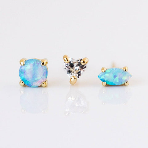 Opal & Diamond Stud Earring Set - earrings - Melinda Maria local eclectic