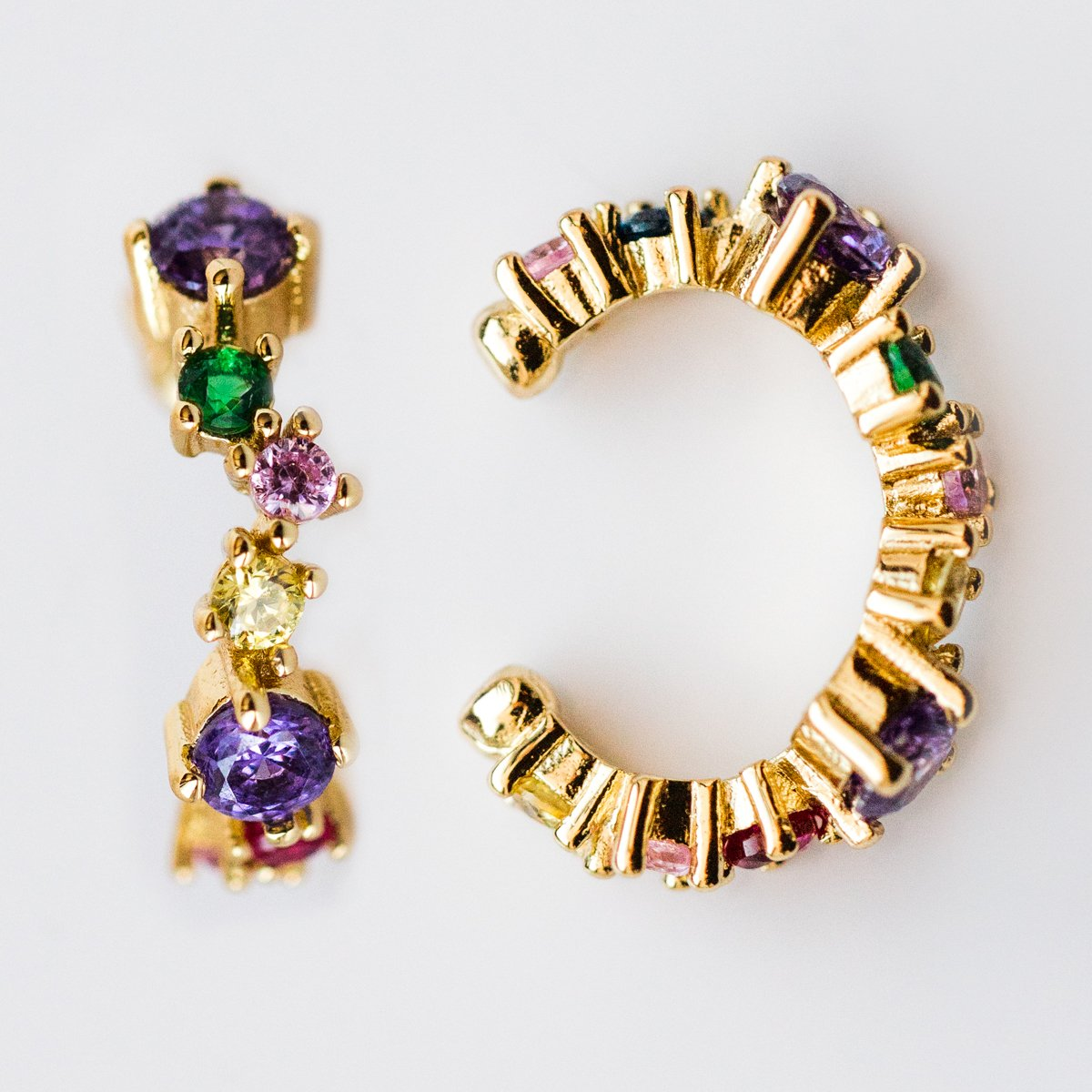7bd367d05 Stella Ear Cuffs in Gold and Rainbow CZ - earrings - Melinda Maria local  eclectic