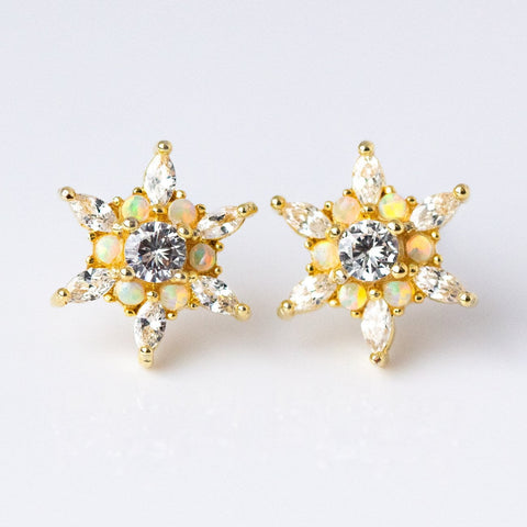 Adriana Studs in Gold with White Opal & CZ