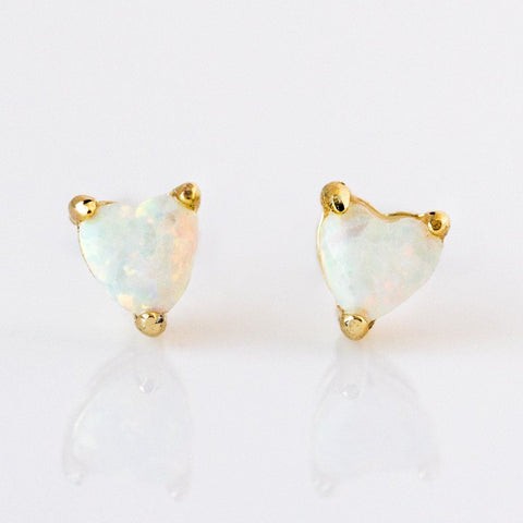 Mini Opal Heart Studs - earrings - Melinda Maria local eclectic