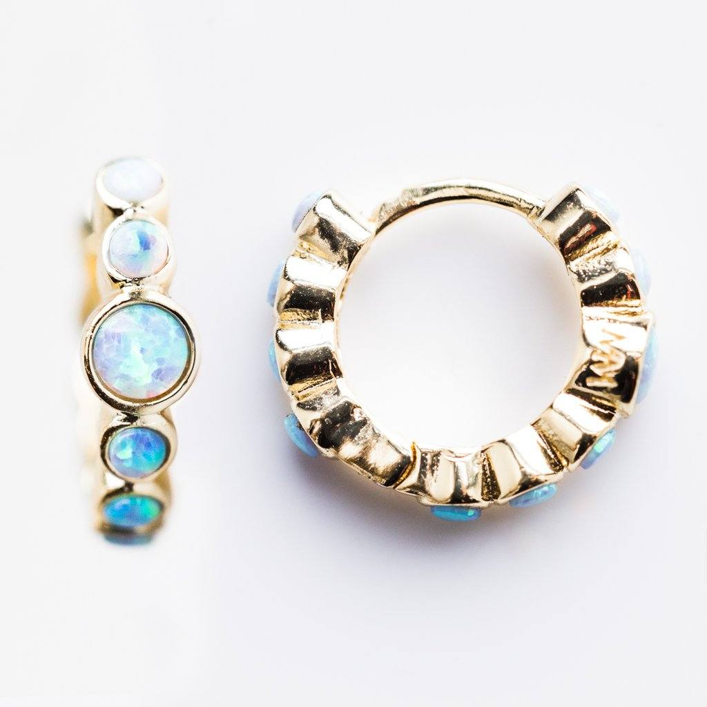 Blue Opal Azoff Huggie Earrings - earrings - Melinda Maria local eclectic