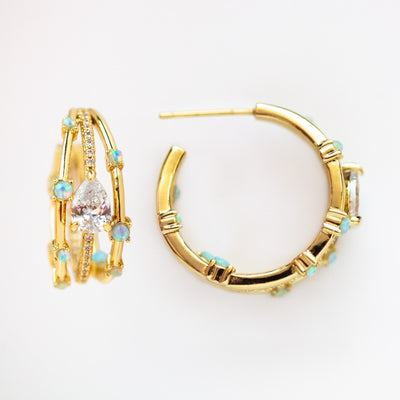 Local Eclectic - Lola Hoops in Blue Opal - Melinda Maria