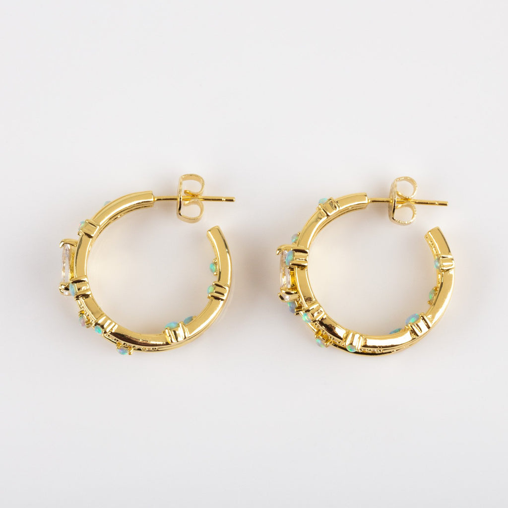 Local Eclectic - Lola 18K Yellow Gold Plated Hoops in Blue Opal - Melinda Maria