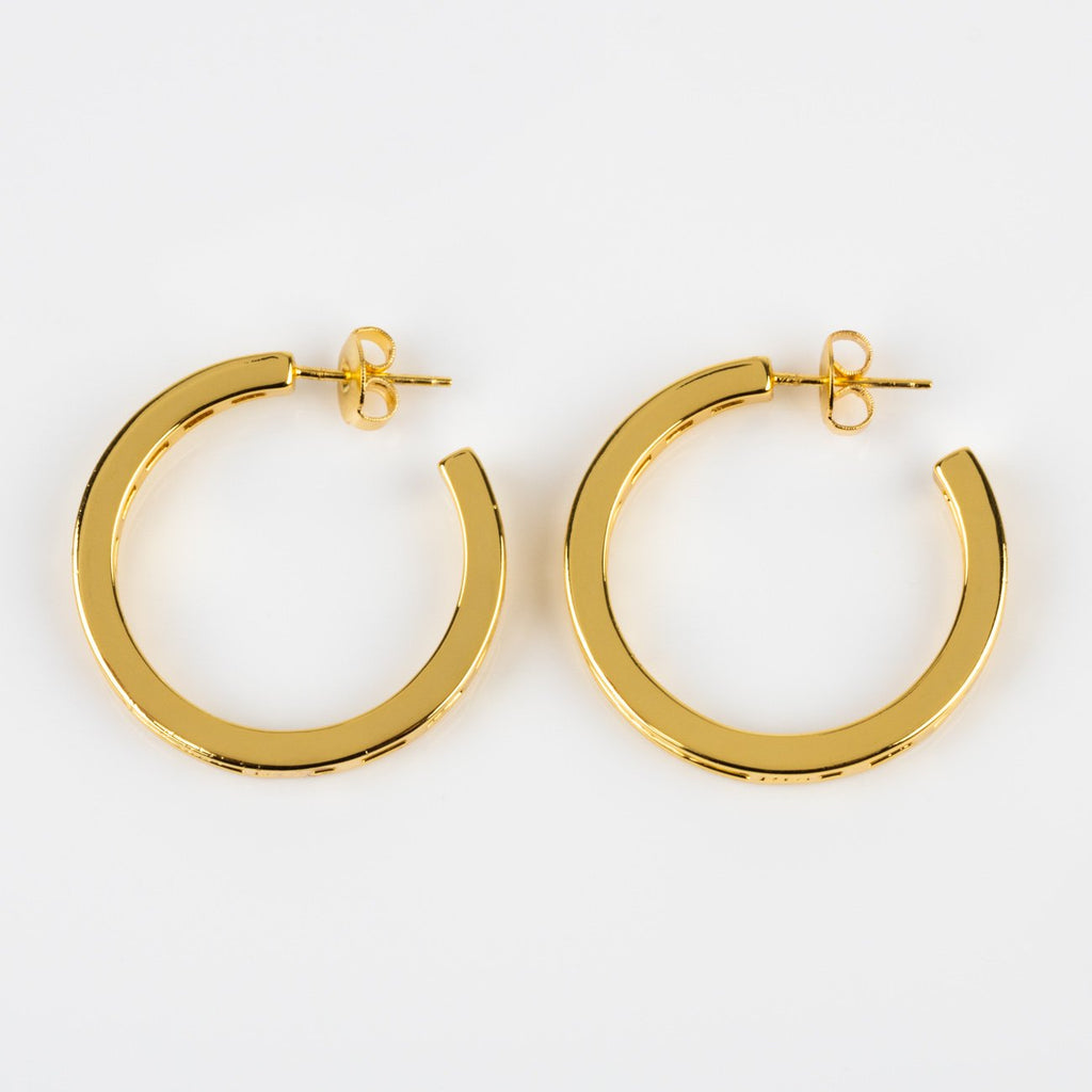Baguette CZ Claire Hoops Yellow Gold Minimalist Jewelry Melinda Maria