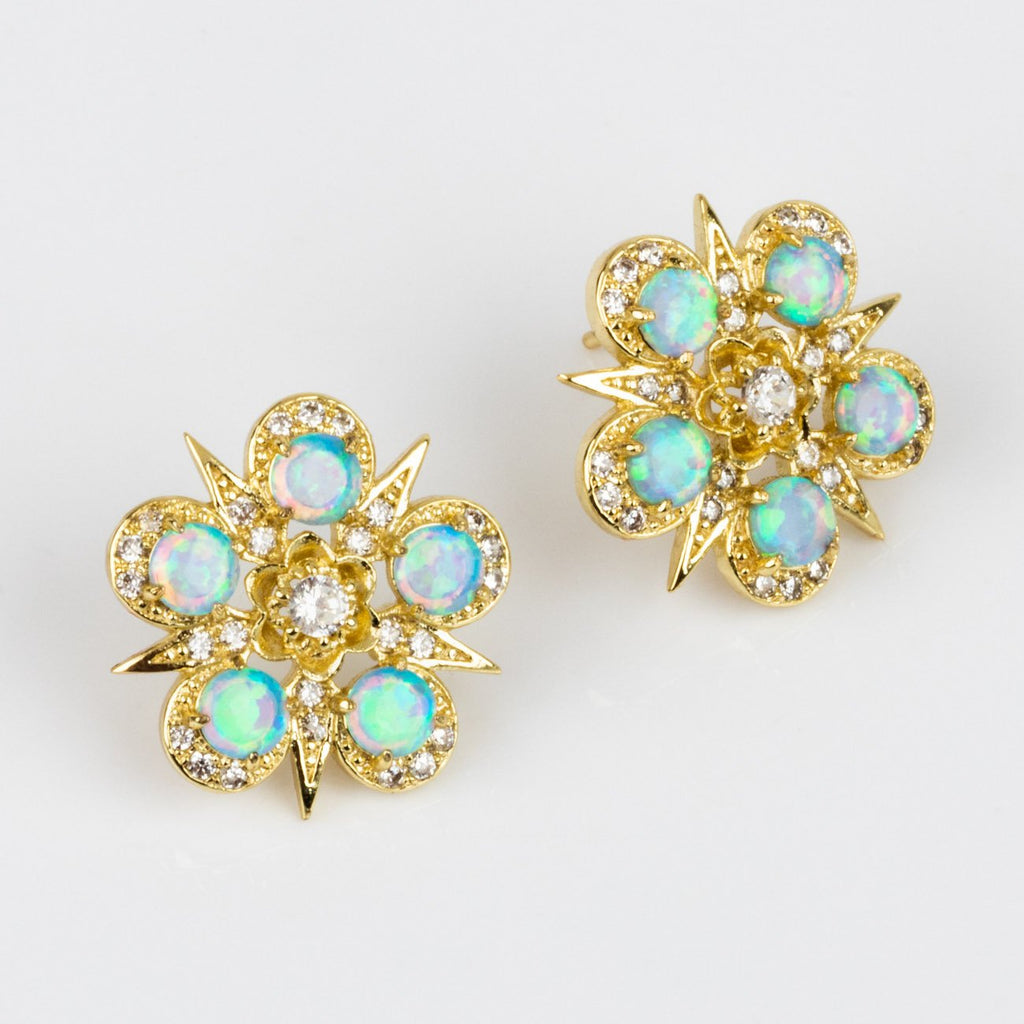 Blue Opal CZ Statement Stud Earrings Melinda Maria Yellow Gold