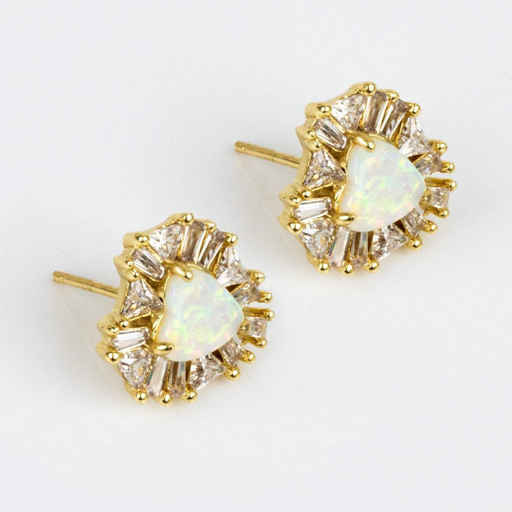 Statement Stud Earring White Opal Jewelry Heart CZ Yellow Gold Melinda Maria