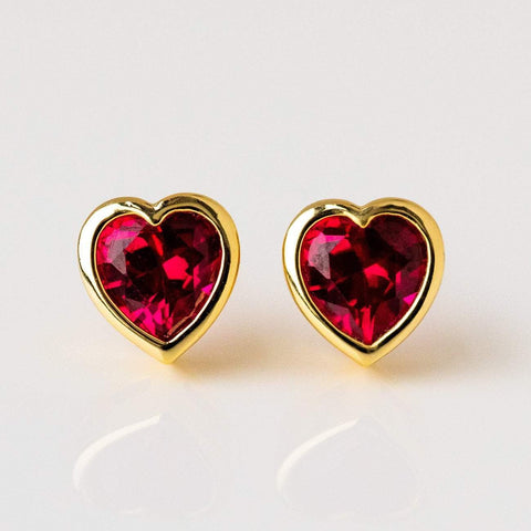 heart stud statement earring ruby red heart cz jewelry